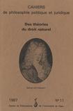 Simone Goyard-Fabre - Cahiers de philosophie politique et juridique N° 11/1987 : Des théories du droit naturel.