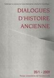 Evelyne Geny et Antonio Gonzalez - Dialogues d'histoire ancienne N° 35/1 - 2009 : .