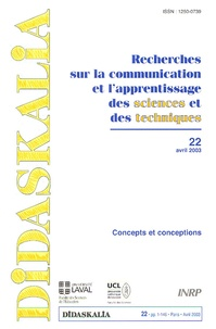 INRP - Didaskalia N° 22, Avril 2003 : Concepts et conception.