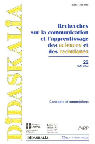 INRP - Didaskalia N° 22, Avril 2003 : Concepts et conception.