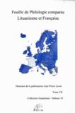 Jean-Pierre Levet et Janina Urbeliené - Feuille de philologie comparée lituanienne et française N° 7 : .