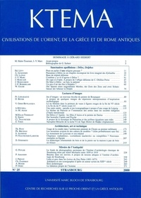 Dominique Beyer et Edmond Lévy - Ktèma N° 25/2000 : Hommage à Gérard Siebert.