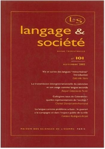 Anonyme - Langage & société N° 101 Septembre 200 : .