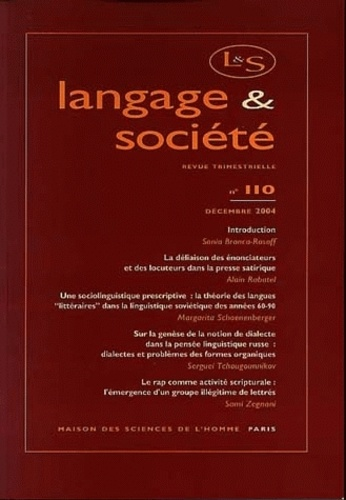 Sonia Branca-Rosoff et Alain Rabatel - Langage & société N° 110, Décembre 200 : .
