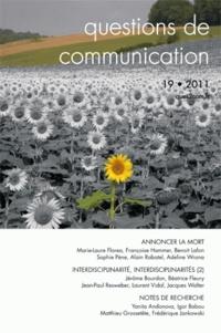 Alain Rabatel - Questions de communication N° 19, 2011 : Annoncer la mort.