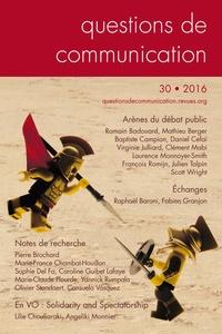 Romain Badouard et Clément Mabi - Questions de communication N° 30/2016 : Arènes du débat public.