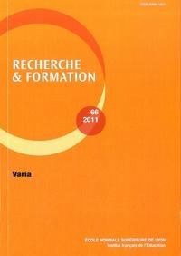 Françoise Lantheaume et Patrick Rayou - Recherche et formation N° 66-2011 : Varia.