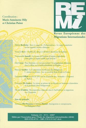 Marie-Antoinette Hily et Christian Poiret - Revue européenne des migrations internationales Volume 23 N° 2/2007 : .