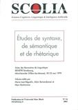 Alain Berrendonner et Marc Bonhomme - Scolia N° 14/2002 : Etudes de syntaxe, de sémantique et de rhétorique.