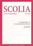 Mongi Kahloul - Scolia N° 29/2015 : La préposition en et les locutions à tête en.