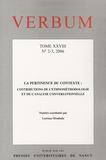 Lorenza Mondada et Luca Greco - Verbum N° 2-3, 2006 : La pertinence du contexte - Contributions de l'ethnométhodologie et de l'analyse conversationnelle.