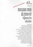 Jean-Marc Vernier - Quaderni N° 63, Printemps 200 : Nouveaux mots du pouvoir : fragments d'un abécédaire.