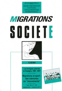 """Fabien Sabatier - Migrations Société Volume 23 N° 137, Se : Migrations et sport : des mémoires en """"mouvements""""."""