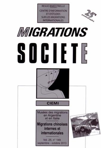 Catherine Wihtol de Wenden - Migrations Société Volume 25 N° 149, Se : Migrations chinoises internes et internationales.