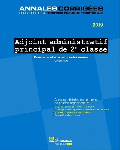 Annales Concours Adjoint Administratif Territorial 2ème Classe