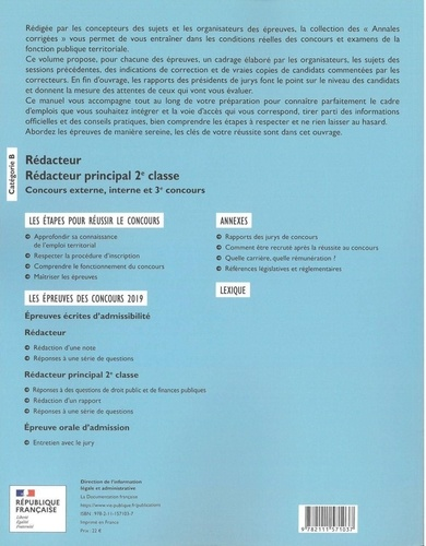 Rédacteur, rédacteur principal de 2e classe. Concours externe, interne et 3e concours  Edition 2021