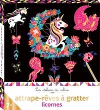 Cinzia Sileo - Attrape-rêves à gratter licornes - Avec 1 stylet en vboix, du fil coton, 2 planches prédécoupées à gratter, 1 planche prédécoupées.