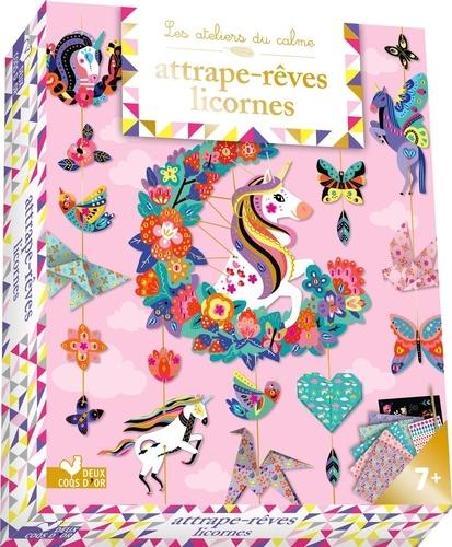Cinzia Sileo - Attrape-rêves licornes - Avec 2 planches à décorer, 5 feuilles d'origamis, 1 planche de 150 strass, 1 planche à gratter et 1 stylet en bois.