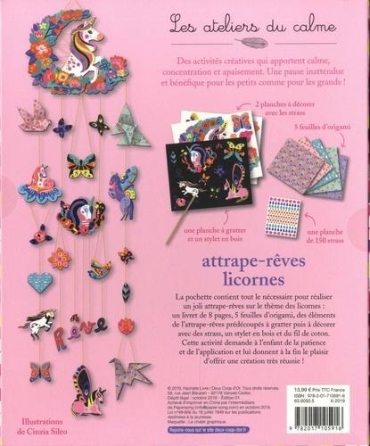 Attrape-rêves licornes. Avec 2 planches à décorer, 5 feuilles d'origamis, 1 planche de 150 strass, 1 planche à gratter et 1 stylet en bois