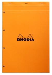 CLAIREFONTAINE - Bloc Rhodia A4 - 80 feuilles perforées détachables quadrillées 5x5 - Clairefontaine