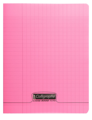 CLAIREFONTAINE - Cahier Calligraphe rose grands carreaux séyès 17x22cm 96 pages
