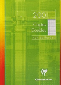 CLAIREFONTAINE - Copies doubles non perforées grands carreaux séyès - A4 21x29,7 cm - 200 pages