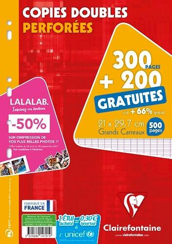 CLAIREFONTAINE - Copies doubles perforées grands carreaux séyès - A4 21x29,7 cm - 300 pages + 200 gratuites