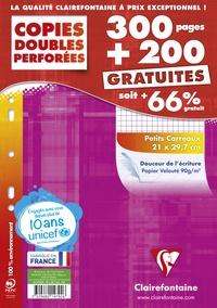 CLAIREFONTAINE - Copies doubles perforées petits carreaux - 21x29,7 cm - 300 pages + 200 gratuites