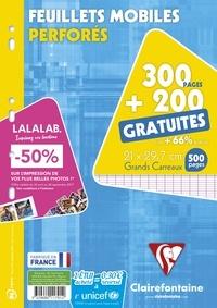 CLAIREFONTAINE - Feuilles mobiles perforées grands carreaux séyès - A4 21x29,7 cm - 300 pages + 200 gratuites