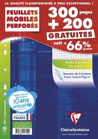CLAIREFONTAINE - Feuilles mobiles perforées petits carreaux - 21x29,7cm - 300 pages + 200 gratuites