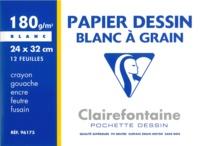 CLAIREFONTAINE - Papier Dessin Blanc à grain - Pochette 12 feuilles - 24x32cm