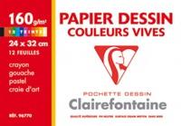 CLAIREFONTAINE - Pochette papier Dessin Couleurs vives 24x32 cm 160g/m2 12 feuilles