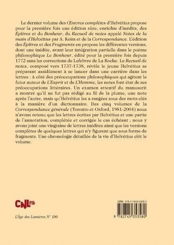 Oeuvres complètes. Tome 3, Poésies, recueil de notes, correspondance