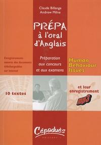 Claude Billange et Andrew Milne - Prépa à l'oral d'anglais - Human Behaviour Issues.