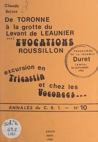 Claude Boisse - De Toronne à la grotte du Levant de Leaunier avec Évocations Roussillon - Excursion en Tricastin et chez les Voconces... Programme de la journée Duret, samedi 20 septembre 1980.