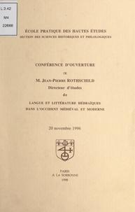 Claude Hagège et Jean-Pierre Rothschild - Conférence d'ouverture de M. Jean-Pierre Rothschild - 20 novembre 1996.