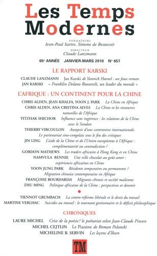 Les Temps Modernes N° 657, Janvier-mars Le rapport Karski ; L'Afrique : un continent pour la Chine