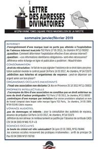 Claude Thébault - Lettre des adresses divinatoires - lettre juridique des adresses internet de la divination.