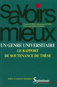 Claudine Dardy et Dominique Maingueneau - Un genre universitaire : le rapport de soutenance de thèse.