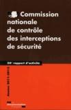 CNCIS - Commission nationale de contrôle des interceptions de sécurité - 20e rapport d'activité 2011-2012.