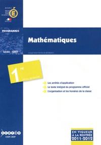 CNDP - Mathématiques 1e séries générales - Programmes 2011-2012.