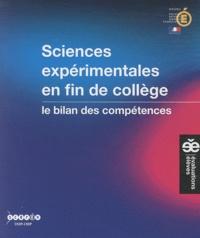 CNDP - Sciences expérimentales en fin de collège - Le bilan des compétences.