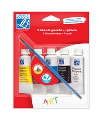 COLART FRANCE - Set gouaches essentielles 20ml Lefranc & Bourgeois + 1 pinceau