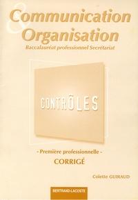 Deedr.fr Communication et organisation 1e Bac Professionnel Secrétariat - Contrôles, corrigés Image