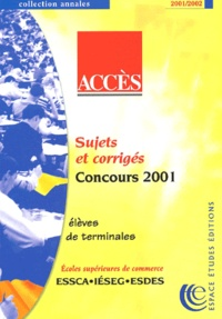 Deedr.fr ACCES. Sujets et corrigés concours 2001 Image