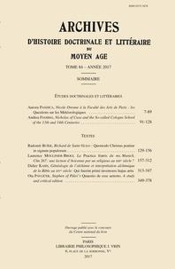 Ucareoutplacement.be Archives d'histoire littéraire et doctrinale du Moyen-Age - Tome LXXXIV Image