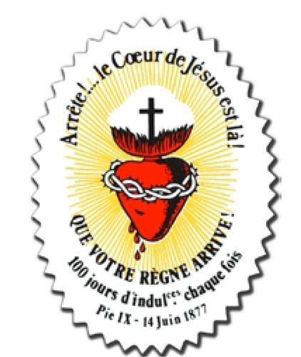 Collectif - Autocollant sauvegarde du Sacré-Coeur - Arrête ! Le coeur de Jésus est là.
