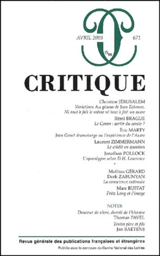 Collectif - Critique N° 671 Avril 2003.