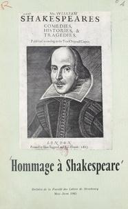Collectif et  Faculté des Lettres et Science - Hommage à Shakespeare.