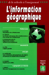 Collectif - L'information géographique Volume 65 N° 4 Décembre 2001.